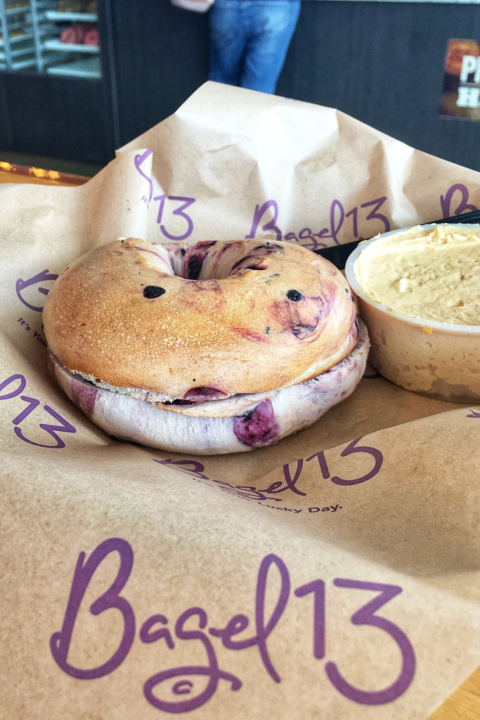Bagel 13 has delicious bagels like this Blueberry Bagel