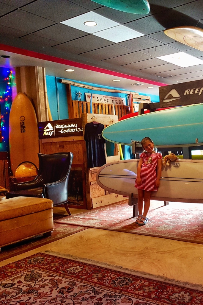 Surfinista is a cool cafe with a surf vibe. The interior shows surfboards.