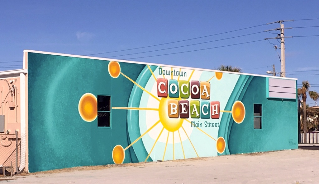 Street Art on a wall in Cocoa Beach, Florida, displaying the city's name.