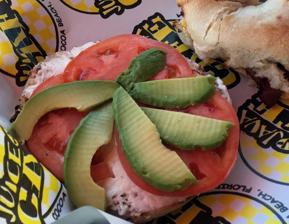 Breakfast at Juice N Java Cocoa Beach. A bagel with Avocado